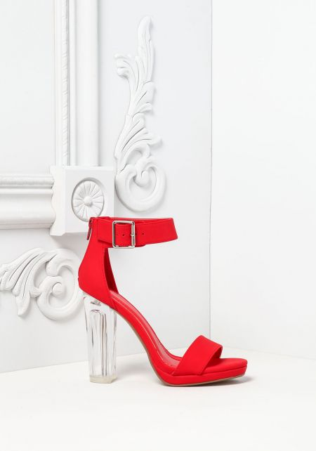 Red Leatherette Ankle Strap Clear Heels