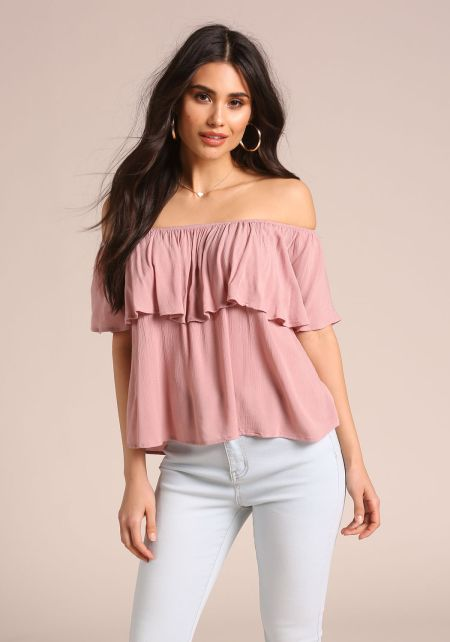 Mauve Crepe Off Shoulder Blouse