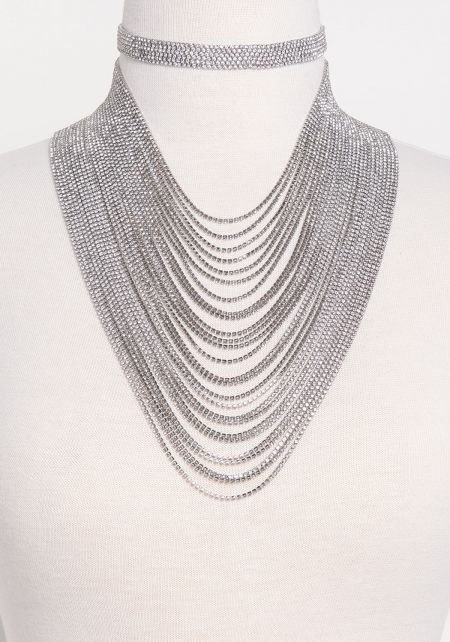 Silver Rhinestone Choker & Layered Necklace Set