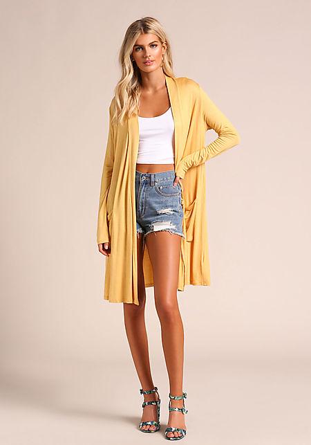 Mustard Longlined Knit Cardigan