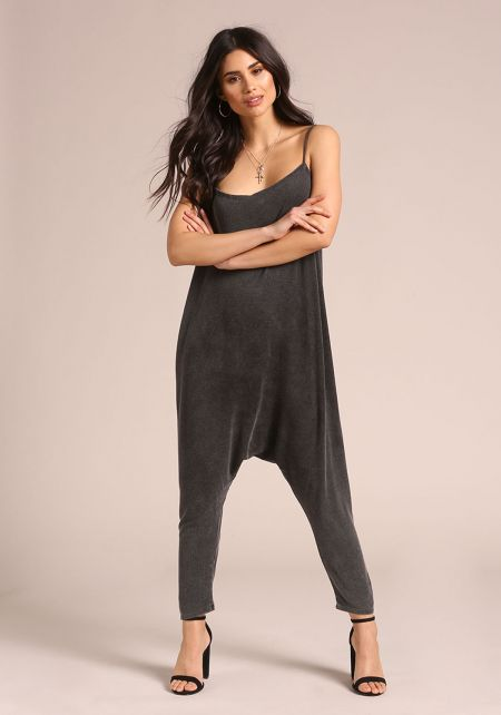 Black Acid Wash Harem Jumpsuit