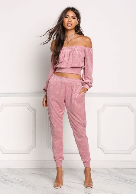 Mauve Soft Knit Jogger Pants