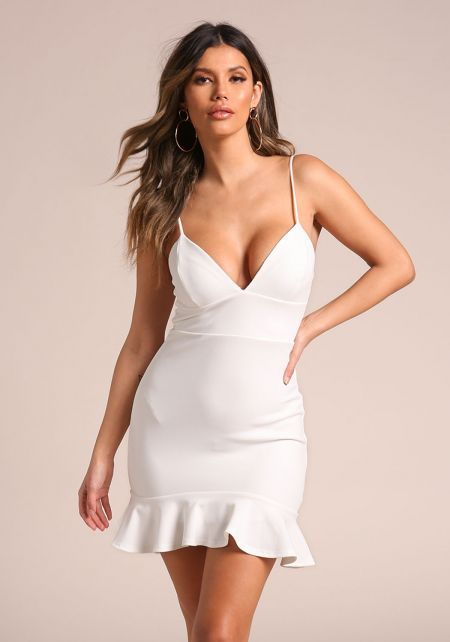 Ivory Plunge Ruffle Bodycon Dress