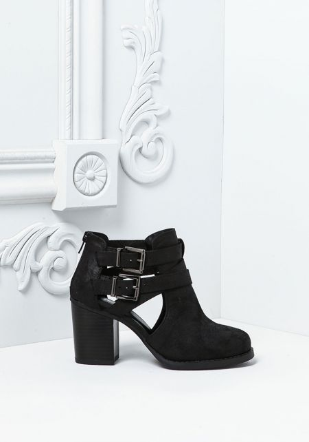 Black Leatherette Strappy Buckle Ankle Booties