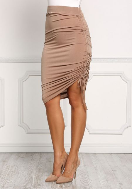 Mocha Ruched Drawstring Bodycon Skirt