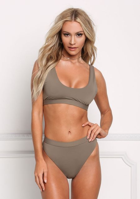 Taupe Low Scoop Swimsuit Bikini Top