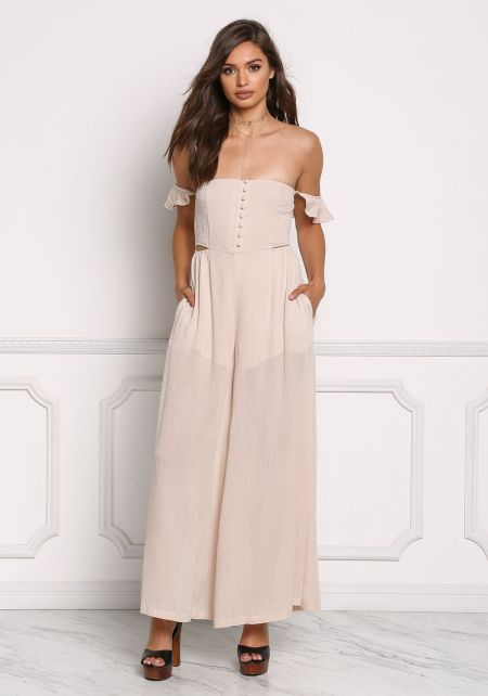 Taupe Crepe Off Shoulder Smocking Jumpsuit