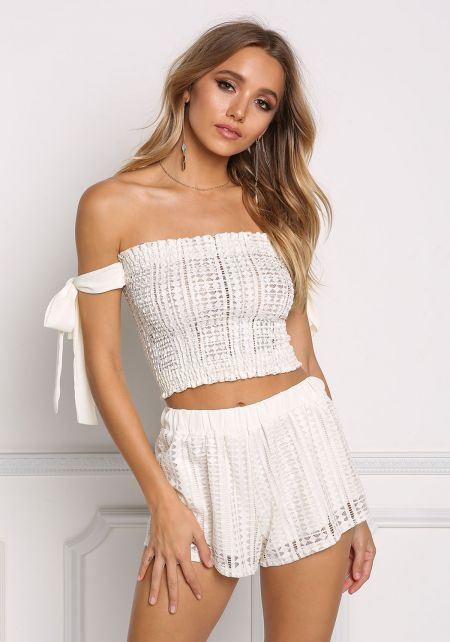 Ivory Gathered Elastic Strapless Crop Top