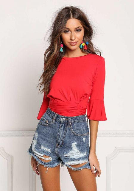 Red Jersey Knit Tie Back Crop Top