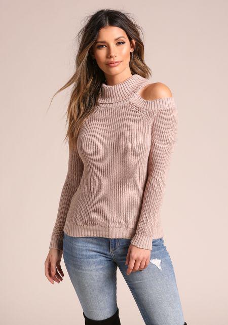Taupe Mock Neck Cold Shoulder Sweater Top
