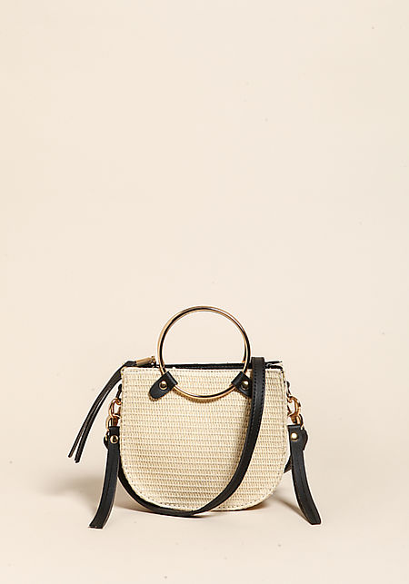 Natural Straw Double Hoop Mini Crossbody Bag