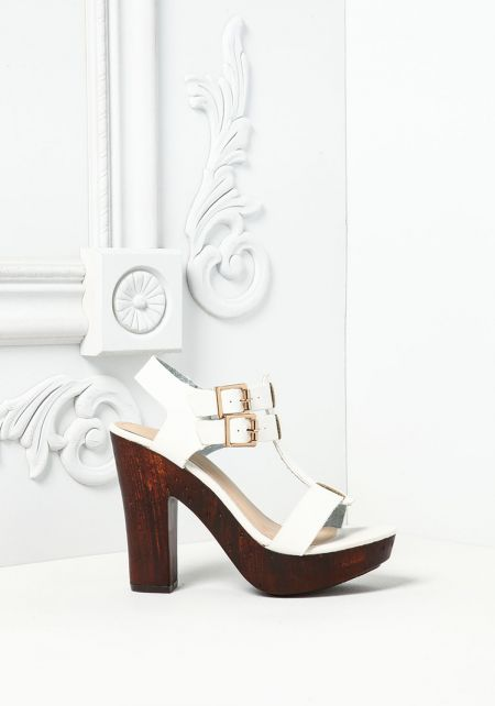 White Double Buckle Clog Heels