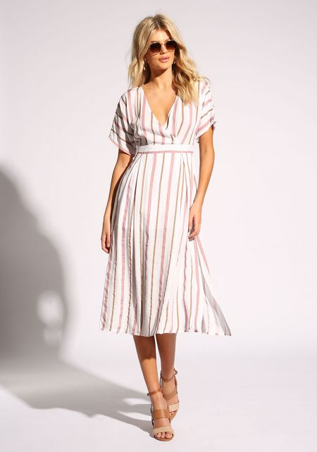 Pink Pinstripe Slit Faux Wrap Midi Dress
