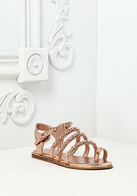 Rose Gold Chain Trim Sandals
