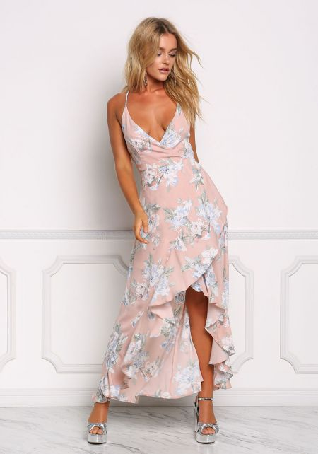 Blush Floral Ruffle Hi-Lo Maxi Dress