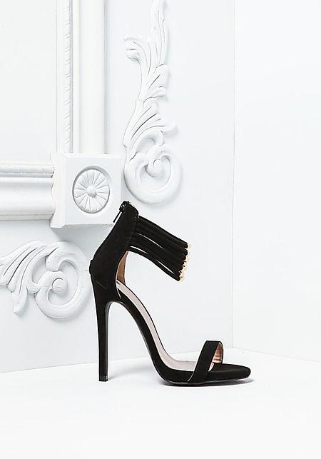 Black Suedette Multi Ankle Strap Heels