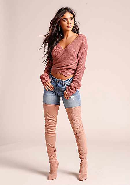 Mauve Cross Over Sweater Crop Top
