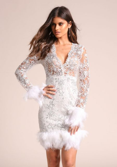 White Sequin Embroidered Faux Feather Bodycon Dres
