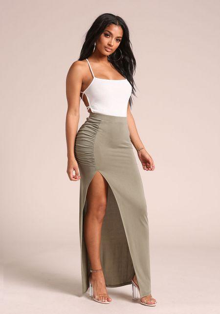 Olive Ruched High Slit Maxi Skirt