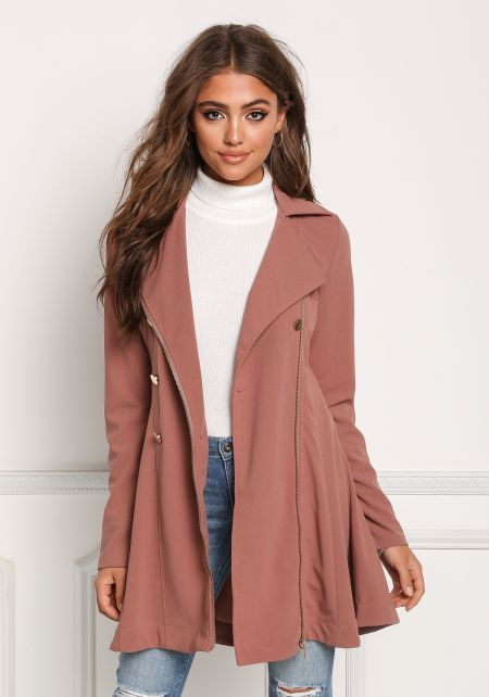 Mauve Flared Double Breasted Trench Coat