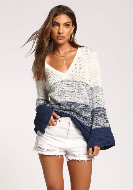 White and Blue Color Block Sweater Top
