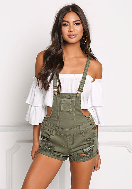 Olive Denim Distressed & Frayed Overalls
