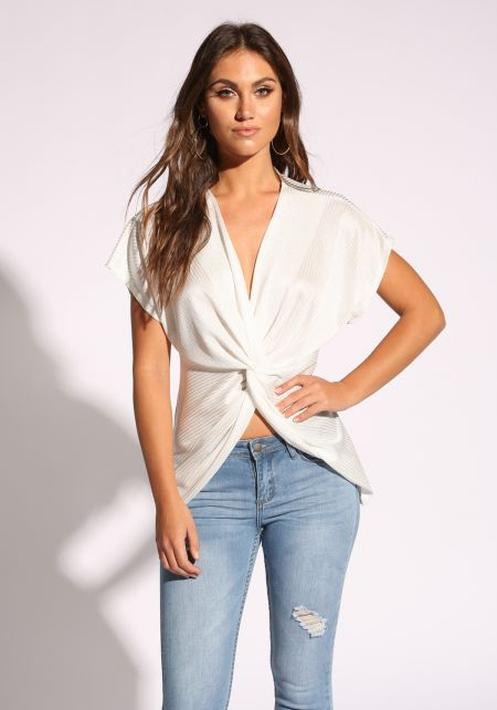 White Twisted Ribbed Blouse