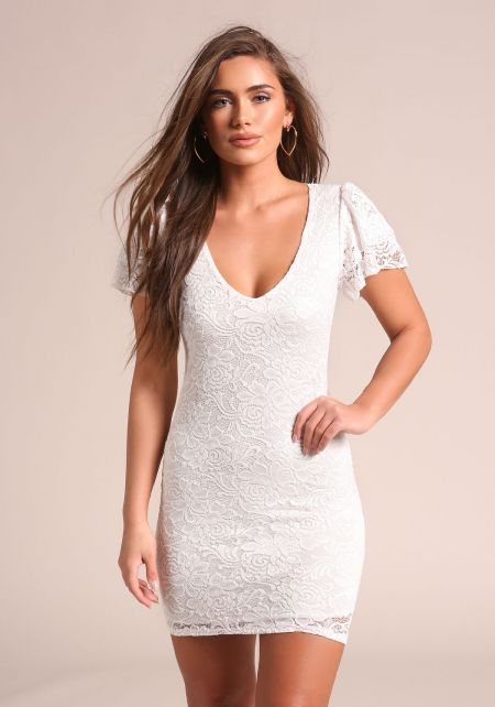 White Tiered Sleeve Lace Bodycon Dress