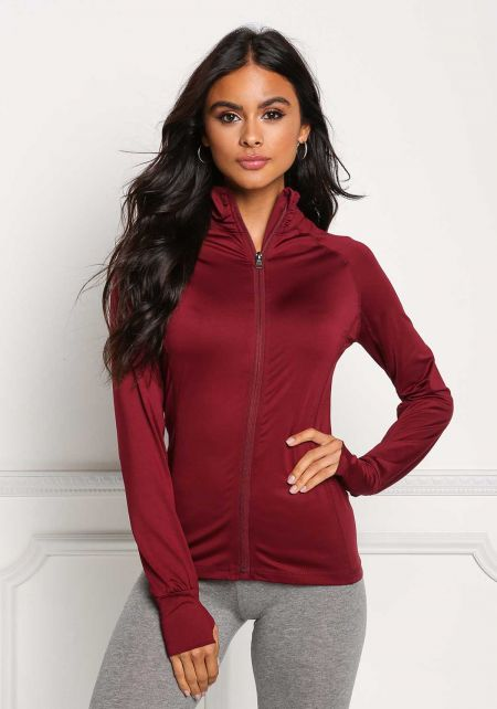 Burgundy High Neck Zip Active Sweater