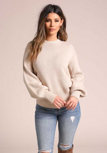 Sand Low Tied Back Puff Sleeve Sweater Top