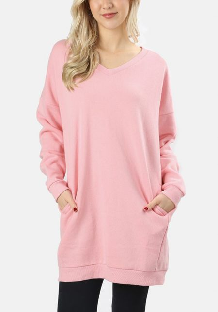 Pink Pullover Pocket Sweater Shift Dress