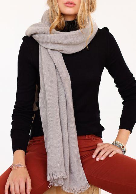 Grey Long Ribbed Knit Scarf