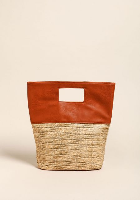 Camel Straw Leatherette Tote Bag
