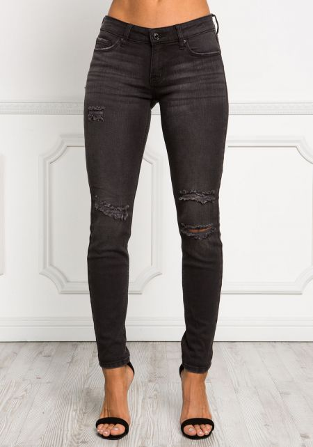 Black Distressed Low Rise Jeans