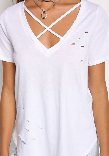 White Cross Strap Distressed Knit Top