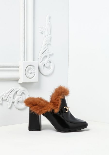 Black Leatherette Faux Fur Mule Heels