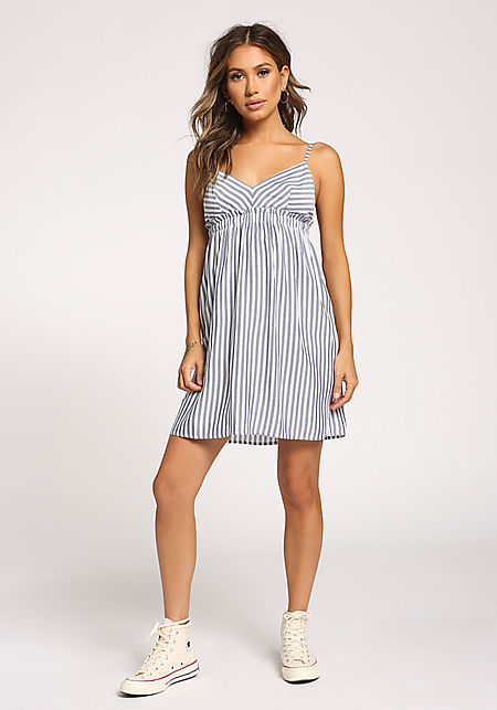 White and Navy Stripe Flared Dress