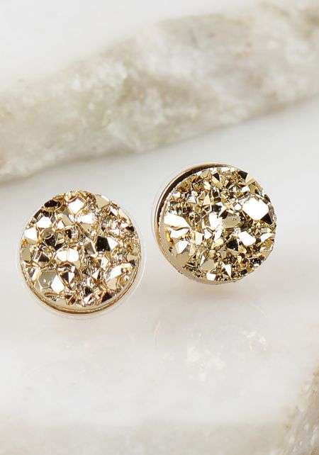 Gold Crushed Stone Earrings