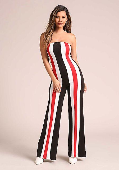 Black Strapless Color Block Stripe Jumpsuit