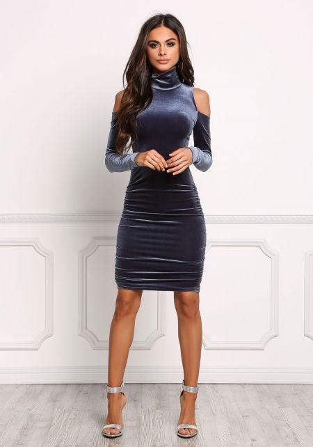 Midnight Blue Cold Shoulder Velvet Bodycon Dress