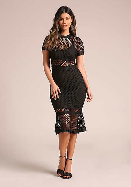 Black Embroidered Mermaid Bodycon Dress
