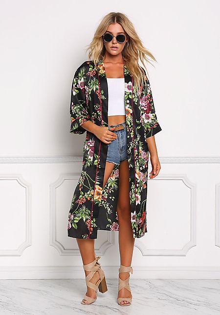 Multi Floral Silky Longlined Kimono