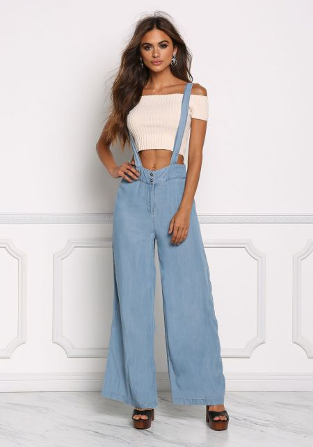 Light Denim Wide Leg Suspender Overalls