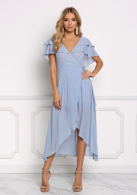 Dusty Blue Ruffle Layered Wrap Maxi Dress