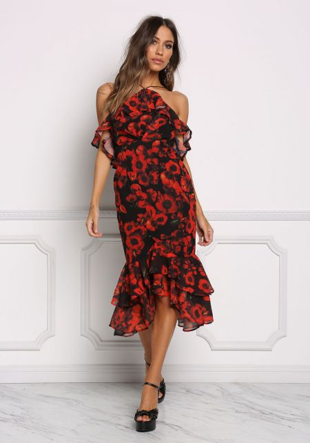 Black and Red Floral Ruffle Midi Dress