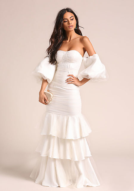 Off White Tulle Tiered Puff Sleeve Maxi Gown