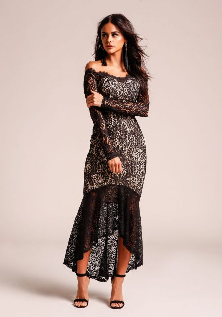 Black Off Shoulder Lace Mermaid Dress