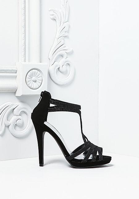 Black Sparkle Suedeete Multi Strap Heels