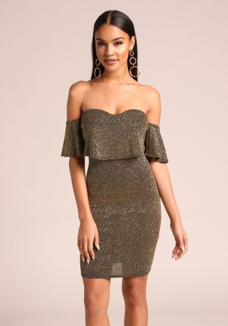 Gold Sparkled Layered Bodycon Dress