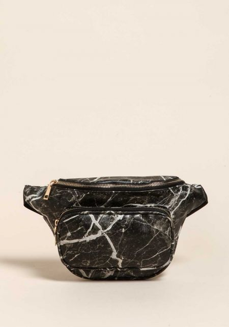 Black Marble Leatherette Fanny Pack
